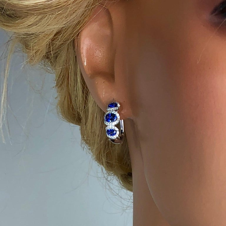 Women's 1.70 Carat Vivid Blue Sapphire and 0.31 Carat Diamond Lever-Back Stud Earrings For Sale