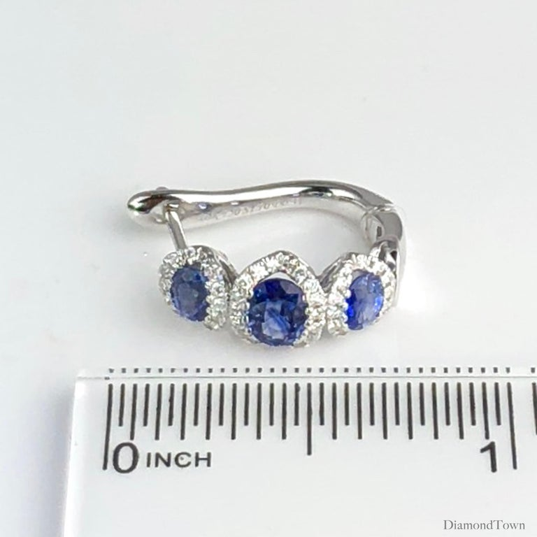 1.70 Carat Vivid Blue Sapphire and 0.31 Carat Diamond Lever-Back Stud Earrings For Sale 1