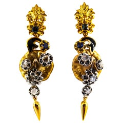 1.70 Carat White Rose Cut Diamond Sapphire Enamel Yellow Gold Flowers Earrings