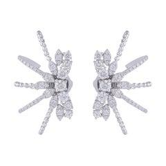 1.70 Carats Diamond 18 Karat Gold Ear Cuff Earrings