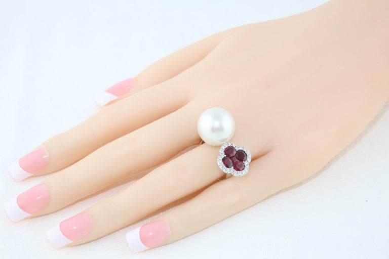 1.70 Carat Ruby and South Sea Pearl Between The Finger Diamond Gold Ring In New Condition For Sale In New York, NY