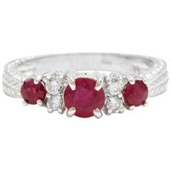 1.70 Ct Impressive Natural Untreated Ruby & Natural Diamond 14K White Gold Ring