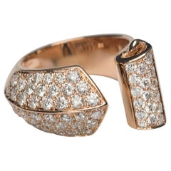 1.70 Karat White Diamonds 18 Karat Rose Gold Design Ring Cocktail Ring