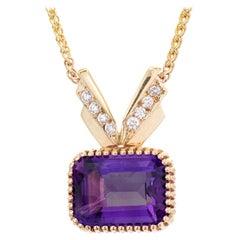 17.00 Carat Amethyst Diamond Gold Pendant Necklace