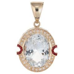 17.00 Carat Oval Precious Topaz Diamond Ruby Pendant