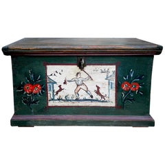 1700 Deep Green Painted Blanket Chest