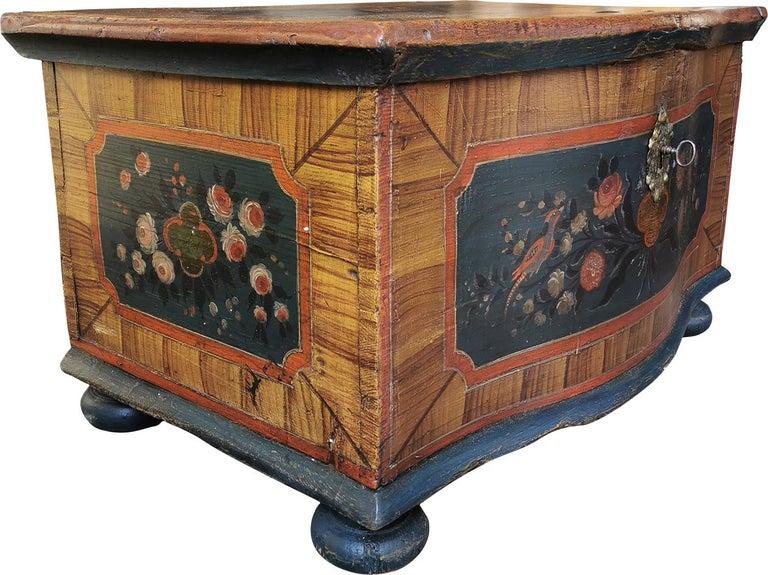 Folk Art 1700 Shaped Blanket Chest, North Italy