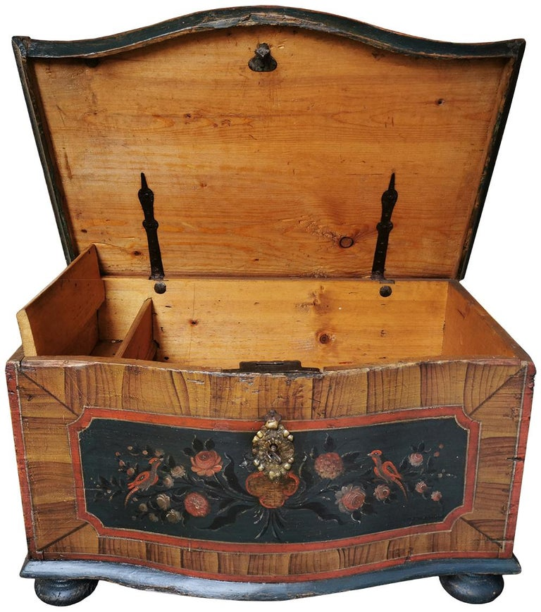 Hand-Painted 1700 Shaped Blanket Chest, North Italy