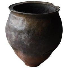1700s-1860s Japanese Pottery Jar Edo Period Tsubo Ceramic Vase Wabisabi