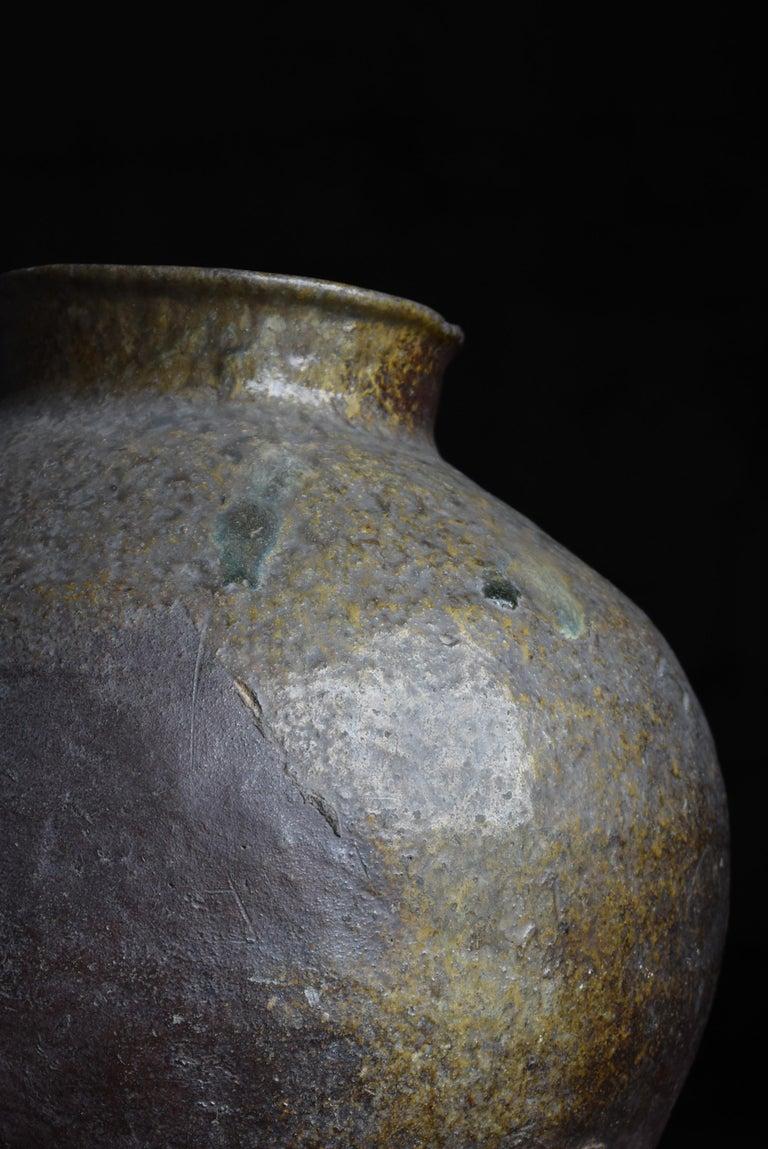 1700s-1860s Japanese Pottery Jar Tsubo Ceramic Edo Period Vase In Distressed Condition For Sale In Sammushi, JP