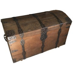 1700s Barock Round Lid Oak Wood Chest with Iron Decorations from Germany