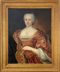 Fine 1700's French Old Master Oil Portrait of Aristocratic Lady in Silk Dress