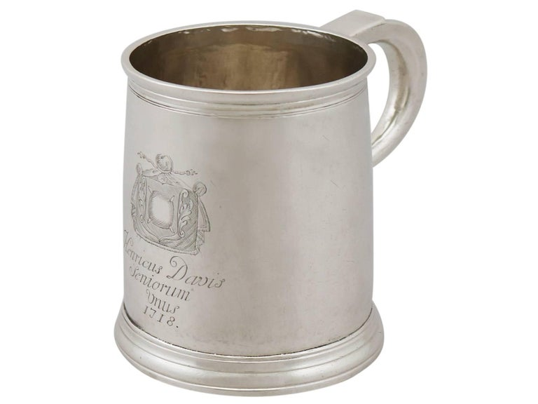 George I 1700s Georgian Britannia Standard Silver Mug For Sale