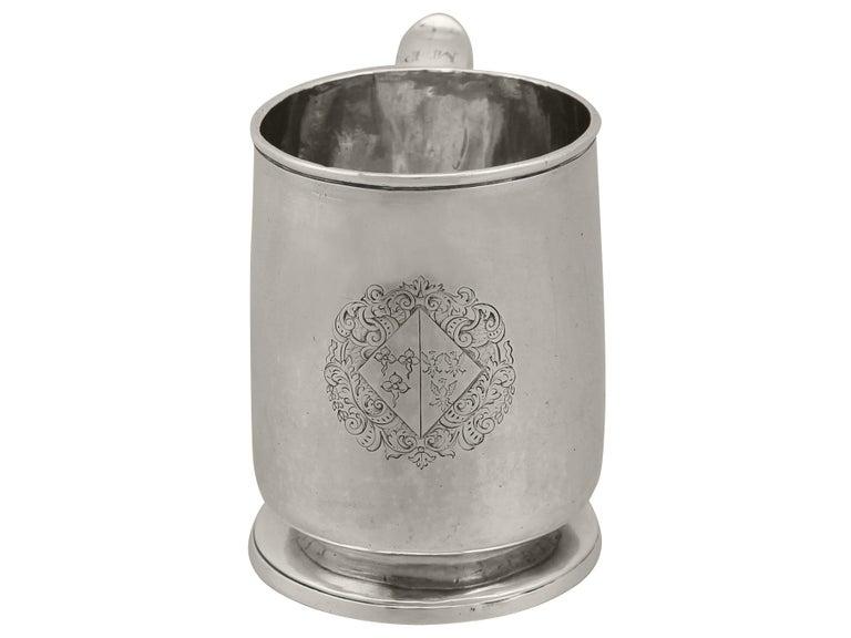 English 1700s Georgian Britannia Standard Silver Mug For Sale
