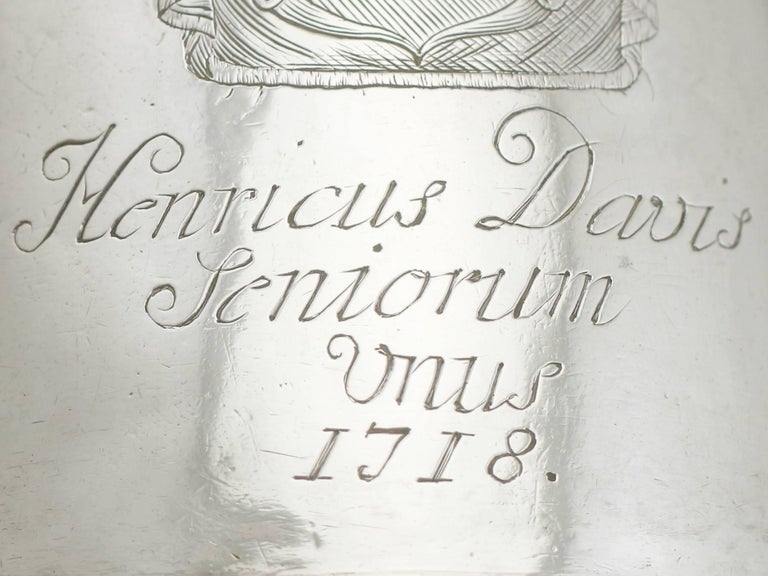 Early 18th Century 1700s Georgian Britannia Standard Silver Mug For Sale