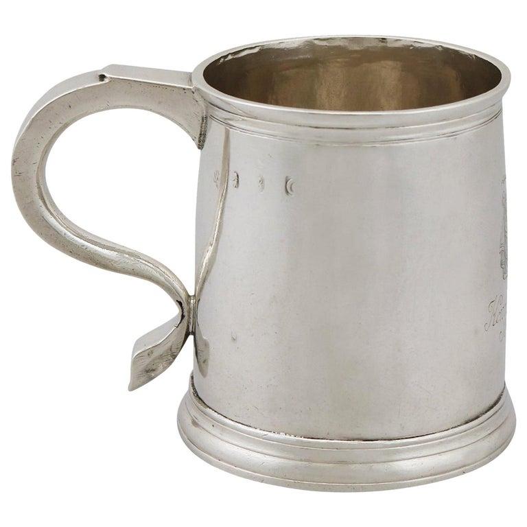 1700s Georgian Britannia Standard Silver Mug For Sale