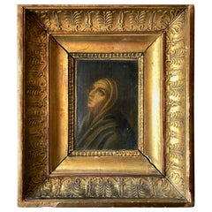 1700s Oil on Canvas Painting with Carved Wood Gilded Frame, Praying Woman/Saint