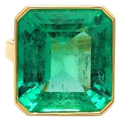 17.01 Carat Emerald Cut, Columbian Emerald Ring, AGL Certified