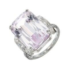 17.01 Carat Kunzite Diamond Platinum Gold Art Deco Cocktail Ring
