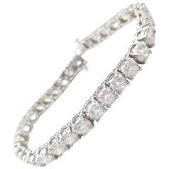 13.40 Carat Round Brilliant Cut Diamond Tennis Bracelet 14 Karat White Gold