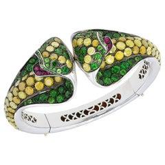 17.03 Ct Diamonds, 10.94 Tsavorite, Ruby 0.73 Carat Paolo Piovan Cabro Bracelet