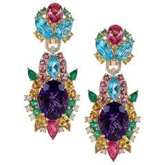 17.04 Carat Amethyst with Diamond, Emerald, Tourmaline Starburst Earrings