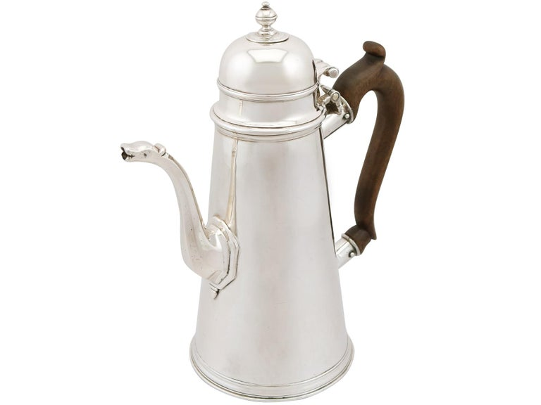English 1705 Antique Britannia Standard Silver Chocolate Pot For Sale