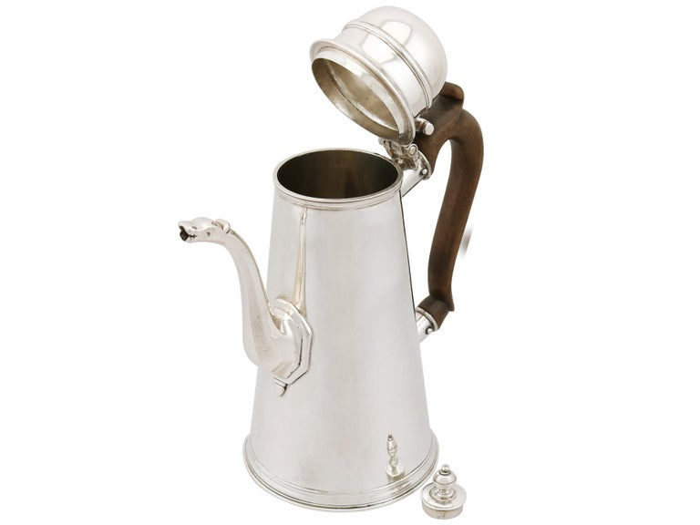 Sterling Silver 1705 Antique Britannia Standard Silver Chocolate Pot For Sale