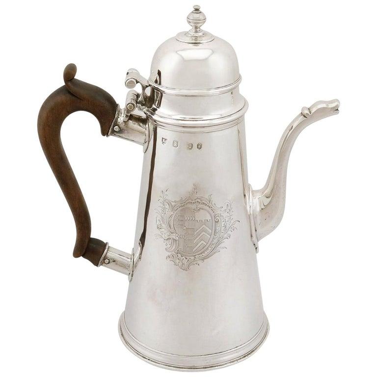 1705 Antique Britannia Standard Silver Chocolate Pot For Sale