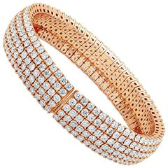 17.05 Carat 18 Karat Rose Gold Flexible Diamond Bangle Bracelet