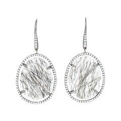17.06ctw Tourmalated Quartz & Diamond Earrings, 18k White Gold Pierced Dangles