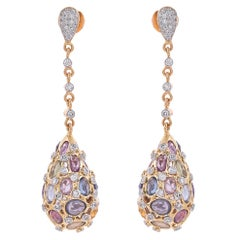 17.07 Carat Rose Cut Multi Sapphire Diamond 18 Karat Yellow Gold Drop Earrings