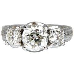 1.70 Carat Natural Round Diamond Engagement Ring Classic Three 14 Karat