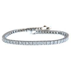 1.70ct Natural Round Diamonds Box Link Pave Bracelet G/VS 14kt