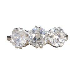 1.70ct Total Diamond Old Cut Three Stone Ring in Platinum