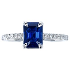 1.71 Carat Certified Natural Unheated Burma Sapphire and Diamond Engagement Ring