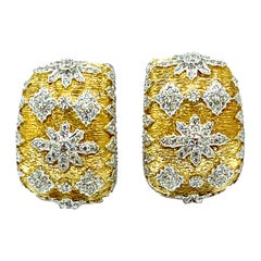 1.71 Carat Diamond and 18 Karat White and Yellow Gold Clip and Post Earrings