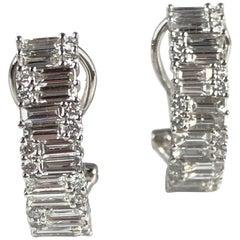 1.71 Carat Diamond Hoop Earrings in 18 Karat White Gold