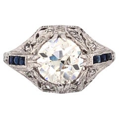 1.71 Carat Diamond Platinum Art Deco Style Cocktail Ring Fine Estate Jewelry