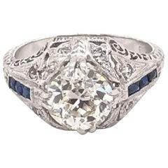 1.71 Carat Diamond Platinum Art Deco Style Engagement Ring Estate Fine Jewelry