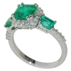 1.71 Carat Emerald and Diamond Ring in 18 Karat Gold