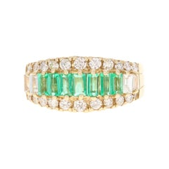 1.71 Carat Emerald Diamond 14 Karat Yellow Gold Ring
