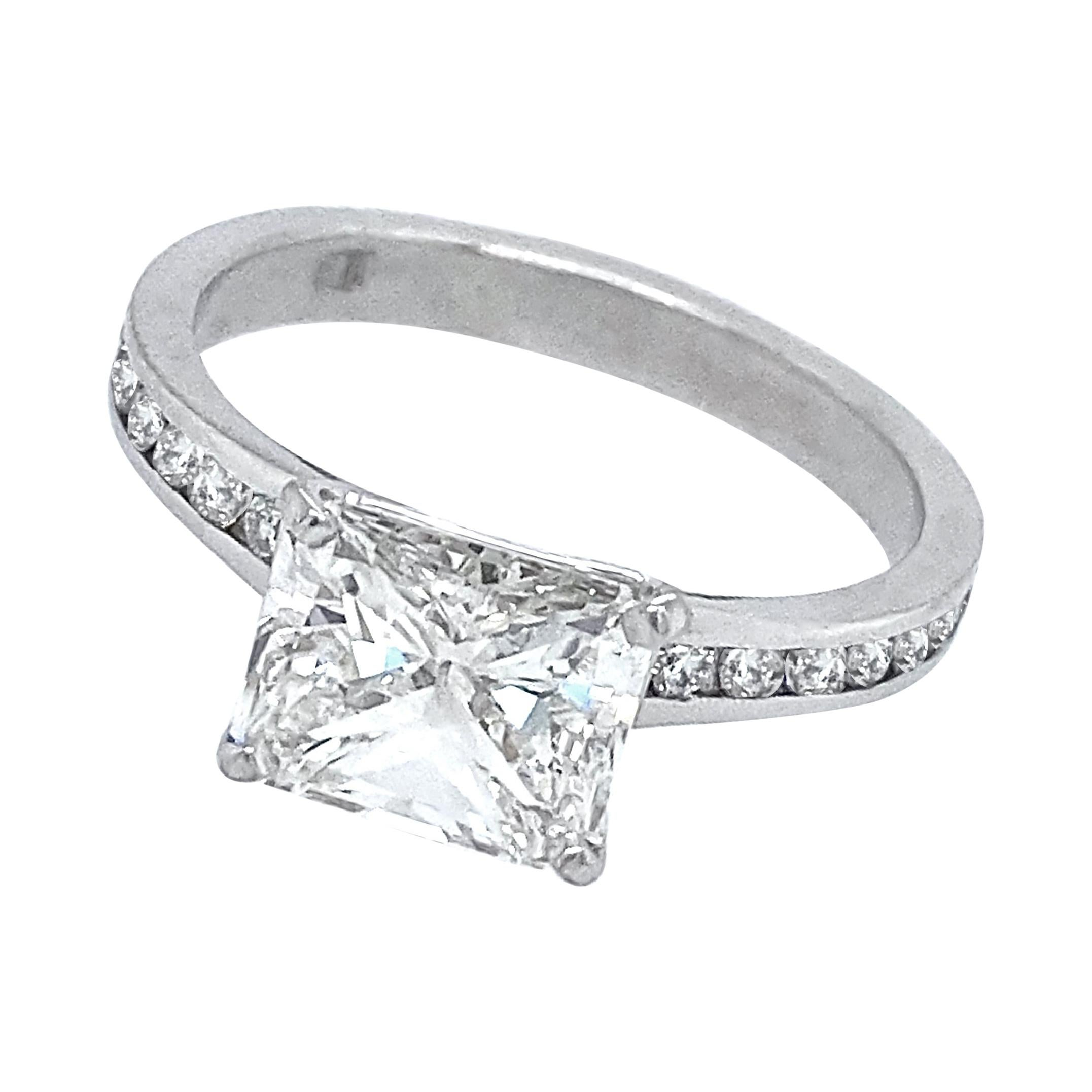1.71 Carat GIA-Certified Radiant Diamond Engagement Ring in Platinum