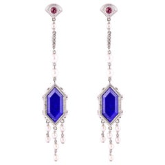 17.1 Carat Lapis Lazuli Earring in 18 Karat White Gold with Diamonds and Pearls