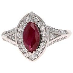 1.71 Carat Marquise Cut Ruby Diamond 18 Karat White Gold Bridal Ring