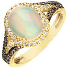 1.71 Carat Natural Opal and Diamond 14 Karat Yellow Gold Ring