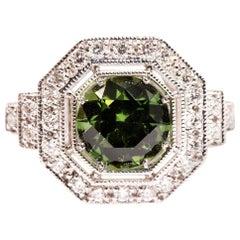 1.71 Carat Natural Round Sapphire and Diamond 18 Carat White Gold Ring