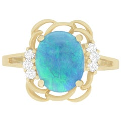 1.71 Carat Opal and 0.12 Carat Diamond Ring