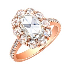 1.71 Carat Oval Rose Cut Diamond Cluster Halo Ring 18 Karat Rose Gold