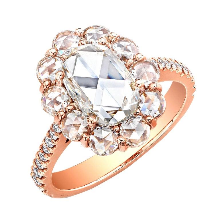 1.71 Carat Oval Rose Cut Diamond Cluster Halo Ring 18 Karat Rose Gold